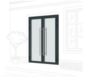 Двух створчатые алюминиевые двери со стеклопакетом